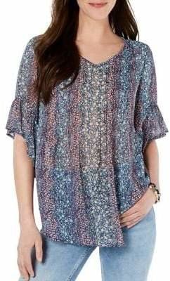 Style&Co. Style & Co. Floral Flutter-Sleeve Top