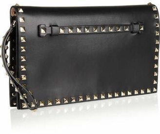 Valentino The Rockstud Leather Clutch - Black