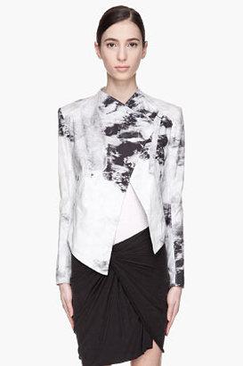 HELMUT Washed black and grey Smudge Print Poplin jacket
