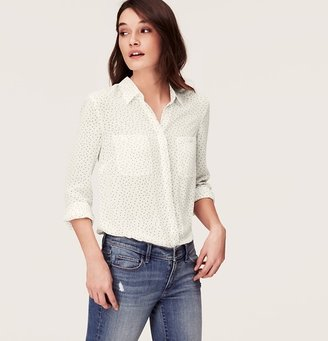 LOFT Tiny Dot Covered Button Down Blouse