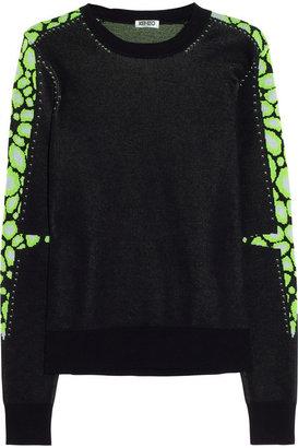 Kenzo Leopard-intarsia cotton-blend sweater