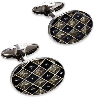 Dolan & Bullock Dolan Bullock Men's Sterling Silver Cuff Links, Diamond Enamel Checkered Cuff Links