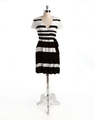 Bailey 44 Striped Wrap-Effect Dress