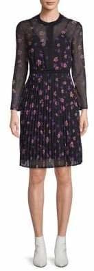 Maje Floral Knife Pleated Dress