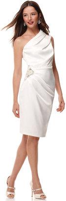 Eliza J Dress, Sleeveless One Shoulder Pleated Beaded