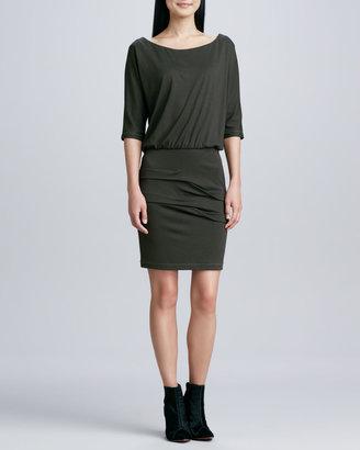 Nicole Miller Artelier 3/4-Sleeve Ponte Blouson Dress