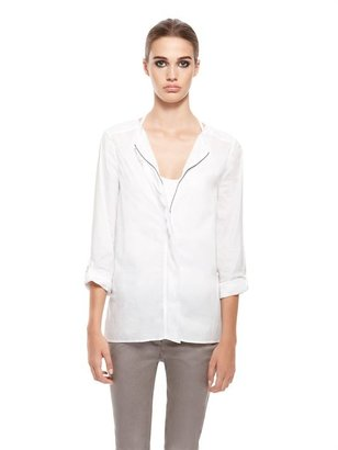DKNY DKNYpure Collarless Zip Front Shirt