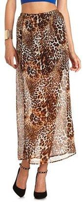 Charlotte Russe Leopard Chiffon Maxi Skirt