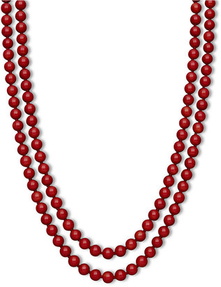 Macy's Sterling Silver Necklace, Red Agate (290 ct. t.w.) Round 2 Row Bead (8mm) Necklace