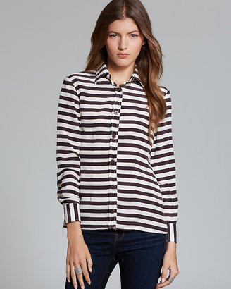 Tucker Blouse - Slim Fit Stripe Silk