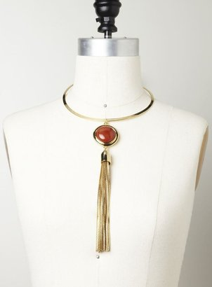 Vince Camuto Gold/red agate tassel necklace
