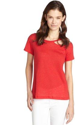 LnA red linen blend 'Palm Desert' ripped detail crewneck t-shirt