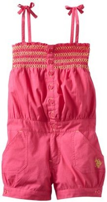 U.S. Polo Assn. Girls 2-6X Romper with Banded Hem