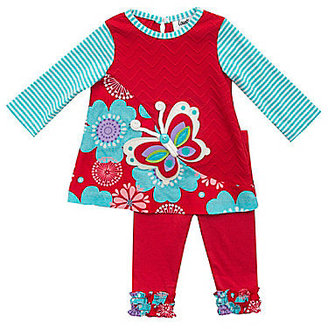 Rare Editions Counting Daisies 12-24 Months Butterfly/Floral Top & Leggings Set