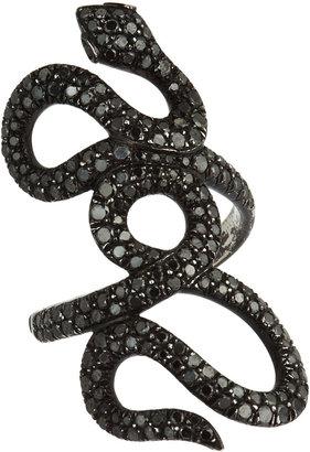 Black Diamond Repossi Interlaced Snake Ring