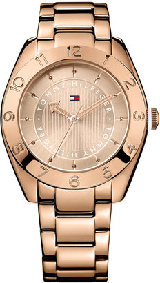 Tommy Hilfiger Watch, Women's Rose Gold-Tone Stainless Steel Bracelet 40mm 1781358