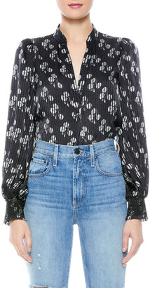 Alice + Olivia Sheila Smocked Blouson-Sleeve Top