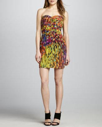 Charlie Jade Printed Pintuck Strapless Dress