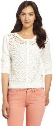 Vince Camuto Women's Daisy Lace Ribbed Trim Cardigan