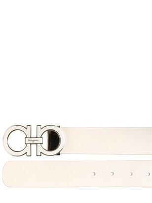 Salvatore Ferragamo Adjustable Leather Double Logo Belt