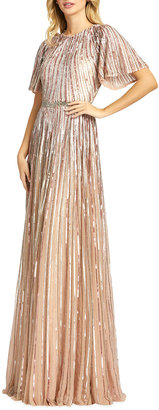 Mac Duggal Sequin Pleated A-Line Gown