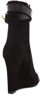 Givenchy Shark Lock Suede Wedge Booties in Black