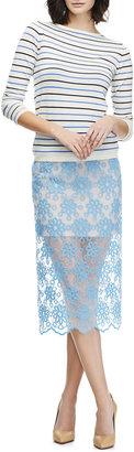 Karla Špetic Faith Floral-Embroidered Organza Midi Skirt