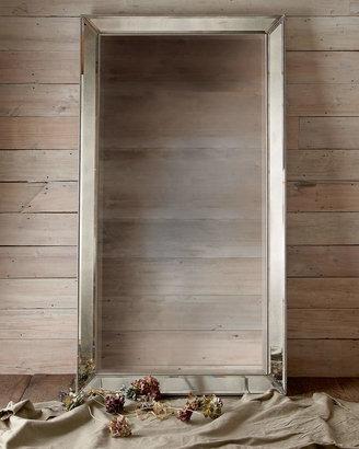 Vince Antiqued-Silver Beaded Floor Mirror