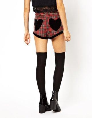 Lazy Oaf Black Heart Plaid Shorts
