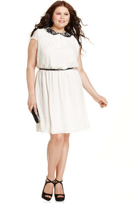 Trixxi Plus Size Dress, Short-Sleeve Lace-Collar Belted