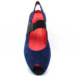 "Pas De Rouge R918"" Blue Suede and Patent MaryJane Peeptoe Wedge"