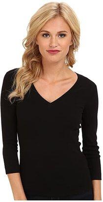 Three Dots 100% Cotton Heritage Knit 3/4 Sleeve Deep V-Neck (Black) Women's Long Sleeve Pullover