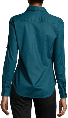 Robert Graham Willow Tab-Sleeve Blouse, Teal