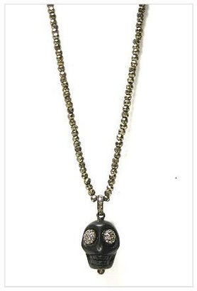 The Woods Pyrite Bead and Black Skull Necklace with Diamonds