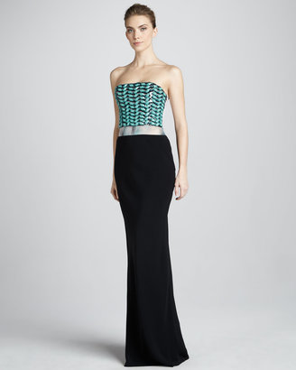 Giorgio Armani Strapless Beaded Gown