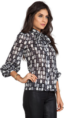 Milly Owl Print Blouse