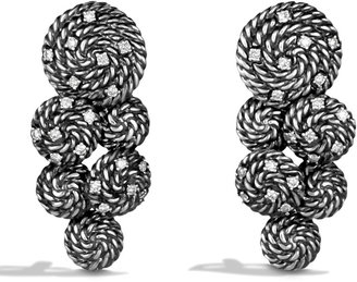 David Yurman Cable Coil Cluster Earrings with Diamonds