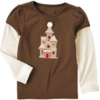 Gymboree Sequin Gingerbread Castle Double Sleeve Tee