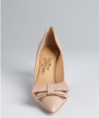 Salvatore Ferragamo blush leather folded bow 'Runa' pumps