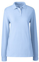 Lands' End Women's Long Sleeve Performance Mesh Polo-White $30 thestylecure.com