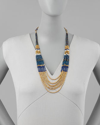 Nakamol Layered Beaded Tier Necklace, Blue/Gold