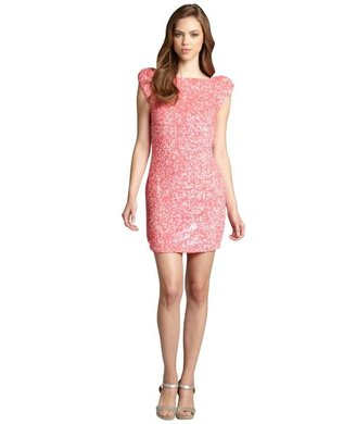 ABS by Allen Schwartz watermelon cap sleeve sequin cutout back party dress