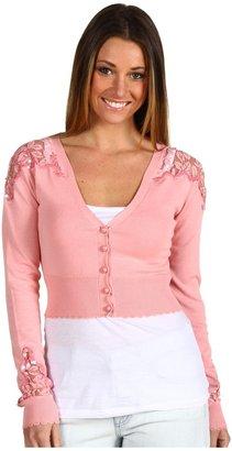 Betsey Johnson Lace Novelty Cropped Cardi (Blush) - Apparel