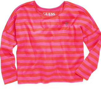 GUESS Shirt, Little Girls Striped Oversized Tee