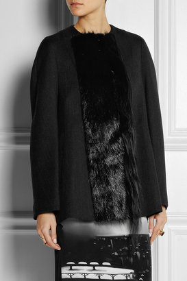 Marni Goat and nutria-trimmed wool-blend jacket