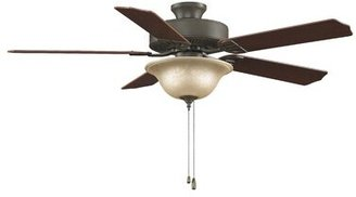 """Fanimation 52"""" Builder Series 5-Blade Ceiling Fan Finish: Oil Rubbed Bronze, Glass Type: White Frosted Glass"""