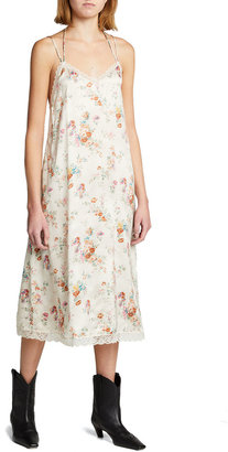 R 13 Lace-Up Floral Slip Dress