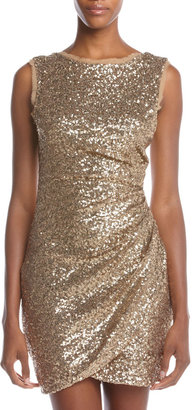 Ali Ro Ruched Low-Back Sequined Dress, Gold