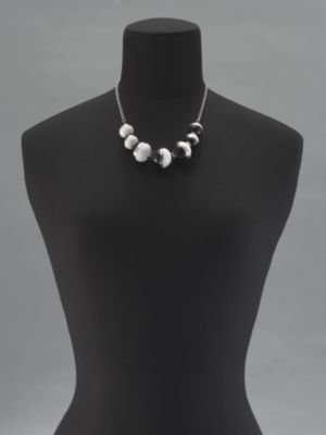 New York & Co. Black & White Ball Short Chain Necklace