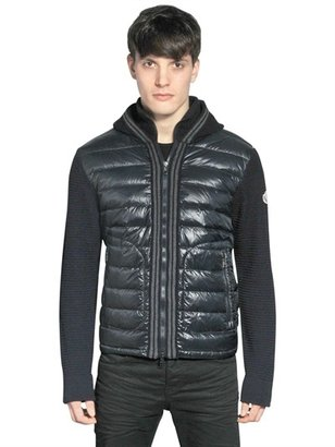 Moncler Wool Knit And Nylon Hooded Jacket